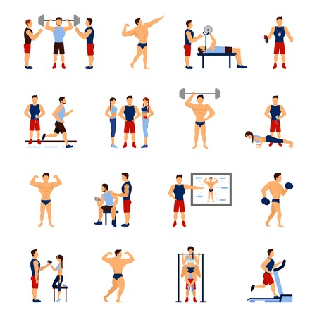 gimnasio: Entrenador de gimnasia y de iconos planos entrenador personal conjunto aislado ilustraci�n vectorial