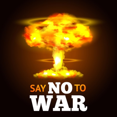 anti nuclear: Nuclear explosion poster with atom mushroom and anti-war text vector illustration Illustration