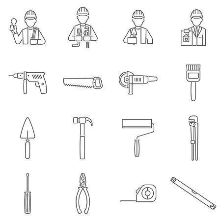 mat�riel chantier: �quipements et outils de construction ic�nes ligne de conduite isol� illustration vectorielle
