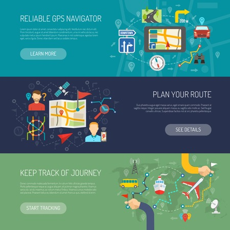 routes: Map horizontal banner set with flat navigation elements isolated vector illustration