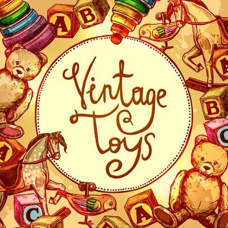 古いスタイルのブロックと時計じかけの鳥のベクトル図とヴィンテージのおもちゃ組成  イラスト・ベクター素材