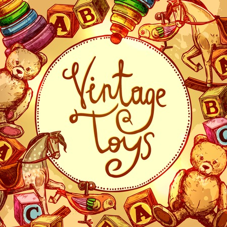 toy blocks: Vintage toys composition with old style blocks and clockwork bird vector illustration