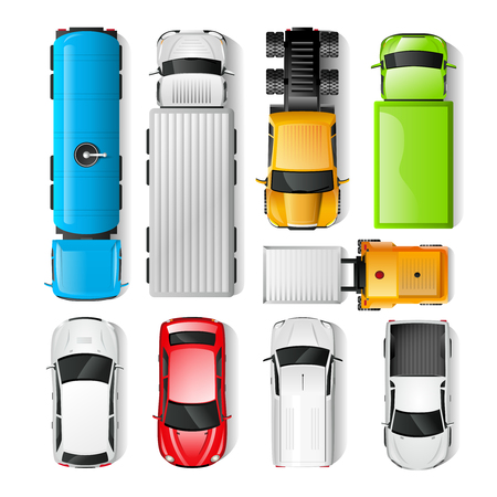 view: Realistic cars and trucks top view set isolated vector illustration