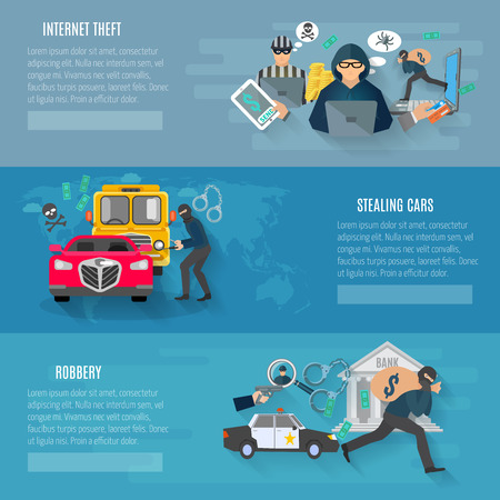 ladron: Thief y robo banners horizontales establecidas con los coches que roban y robo de internet plana aislado ilustración vectorial Vectores