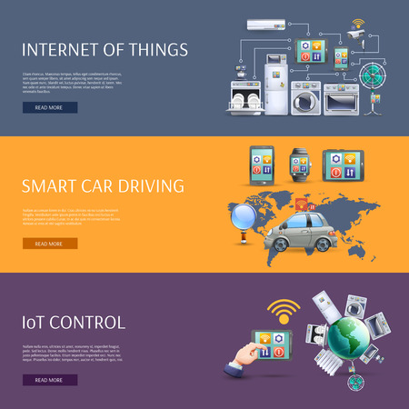 monitoring: Internet of things smart car driving iot control interactive homepage flat banners set abstract isolated vector illustration