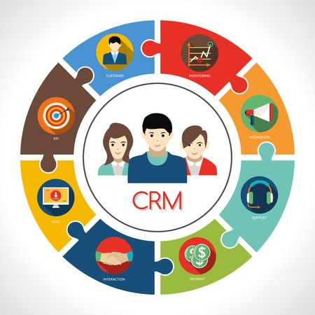 Crm concept with customers avatar and clients management symbols vector illustration