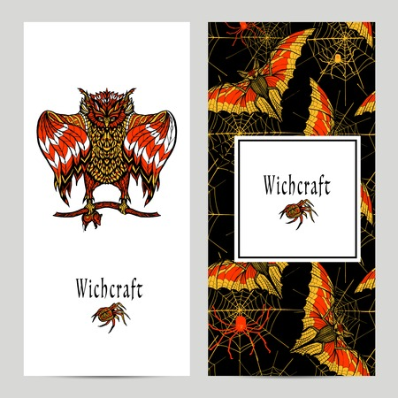 witchcraft: Witchcraft vertical banner set with hand drawn magic ritual animals isolated vector illustration