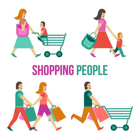 family shopping: People in shopping center flat icons set isolated vector illustration