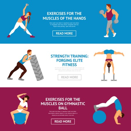 fit ball: Strength and muscle training workout horizontal banner set isolated vector illustration Illustration