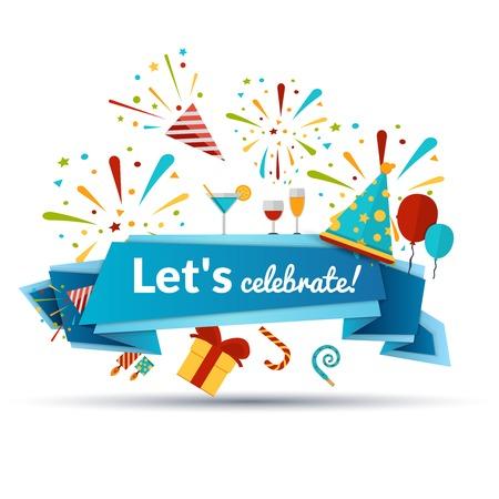 celebracion: Celebración de vacaciones emblema con símbolos del partido y cinta Ilustración vectorial