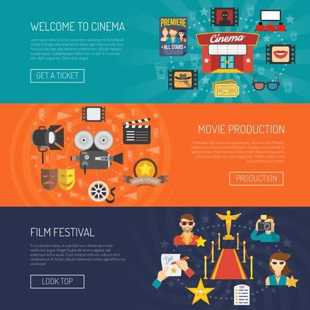 zábava: Film banner horizontální set s filmových festivalů ploché prvky izolované vektorové ilustrace