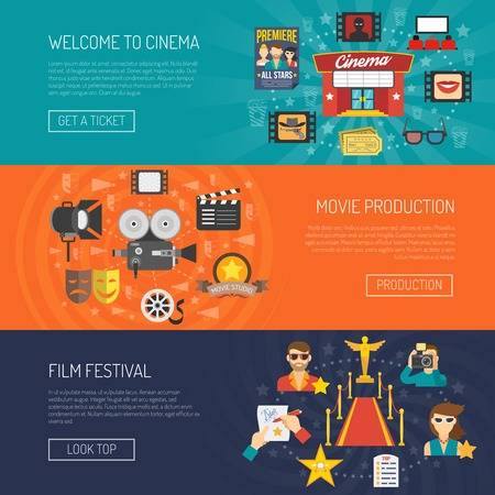 production line: Movie banner horizontal set with film festival flat elements isolated vector illustration