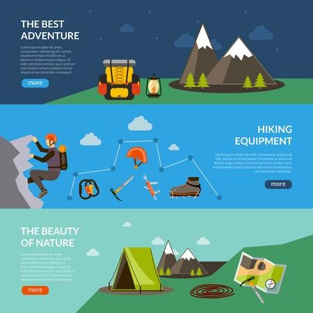 escalando: aventura de campamento de banner horizontal establece con la ilustración del vector de los elementos de equipo de senderismo aisladas Vectores