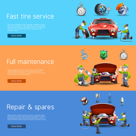 full: Auto mechanic full service interactive internet homepage with 3 horizontal  flat banners set abstract vector isolated illustration