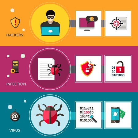 hackers: Cyber virus horizontal banners set with hackers and computer bugs elements isolated vector illustration Ilustra��o