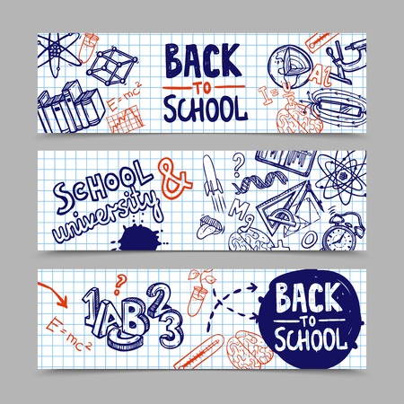 Back to school horizontal banners with hand drawn education symbols on squared paper background isolated vector illustration Illustration