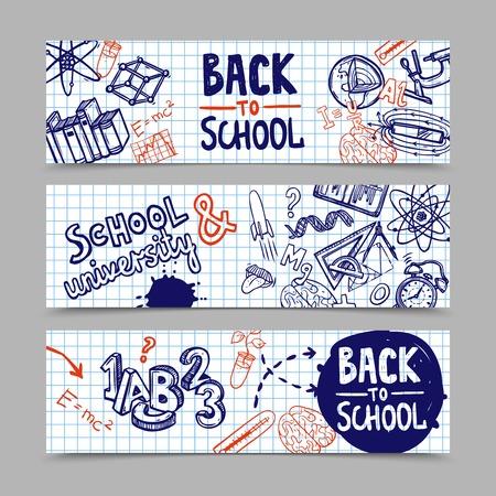 Terug naar school horizontale banners met de hand getekende onderwijs symbolen op ruitjespapier achtergrond geïsoleerde vector illustratie Stock Illustratie