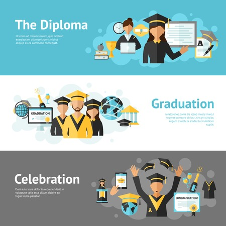 university student: Graduation horizontal banner set with diploma celebration elements isolated vector illustration