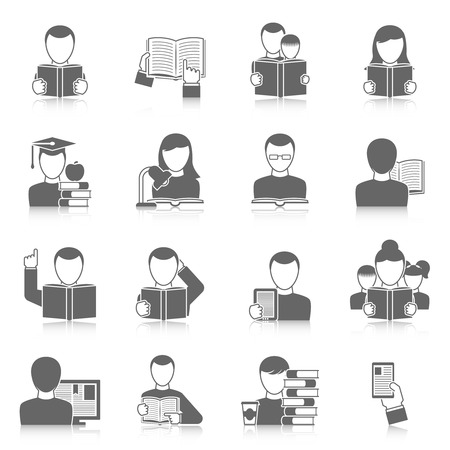 Books and reading black white icons set with tales education and people flat shadow isolated vector illustration