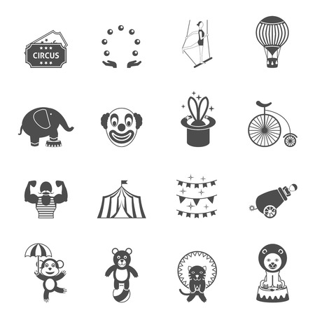 magician hat: Travelling chapiteau tent performance black icons set with magician hat and circus clown abstract isolated vector illustration