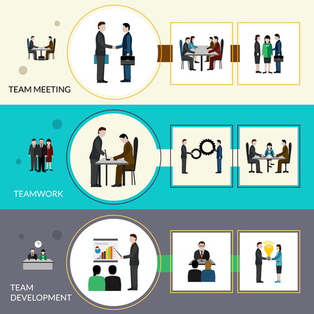 BANNER DESIGN: Teamwork horizontal banner set with meeting and development elements isolated vector illustration Illustration