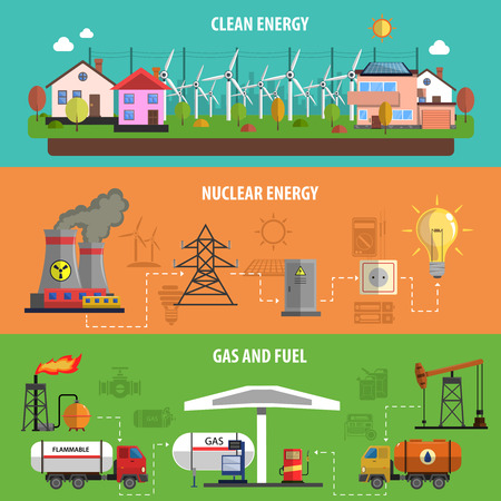 nuclear energy: Power and energy horizontal banners set with gas and fuel flat isolated vector illustration