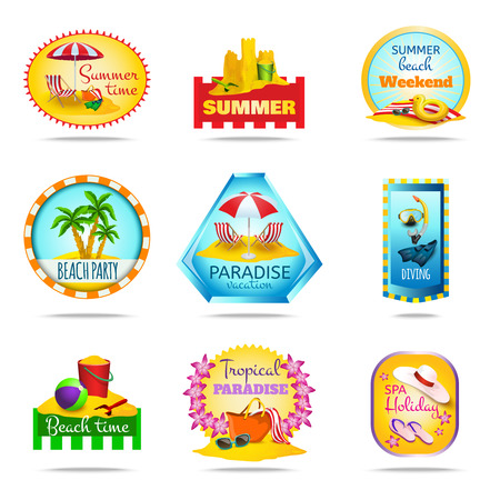 Vacation and summer cartoon emblems set with diving party and spa isolated vector illustration