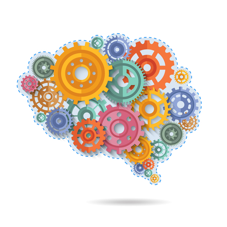 Various flat style color gears in shape of brain concept vector illustration