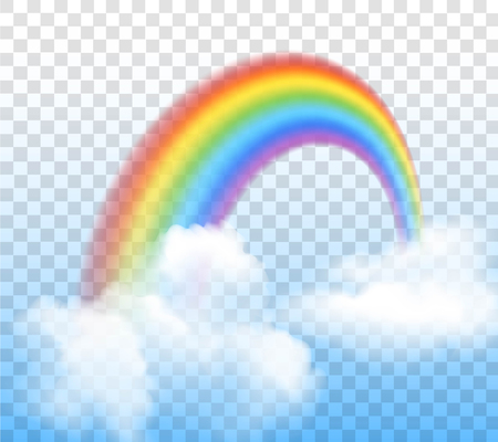 green and red: Bright arched rainbow with clouds realistic vector illustration on transparent background