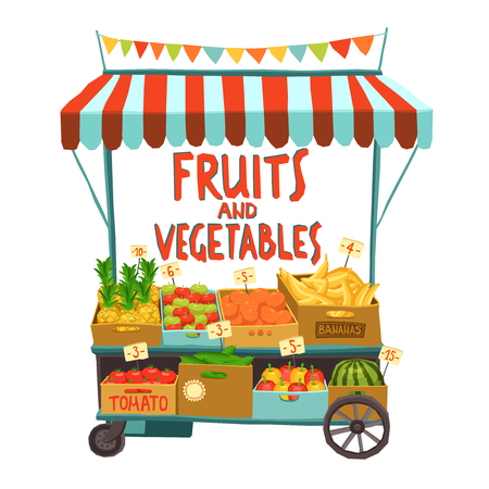 platano caricatura: Calle venta cesta con frutas y verduras ilustración vectorial de dibujos animados Vectores
