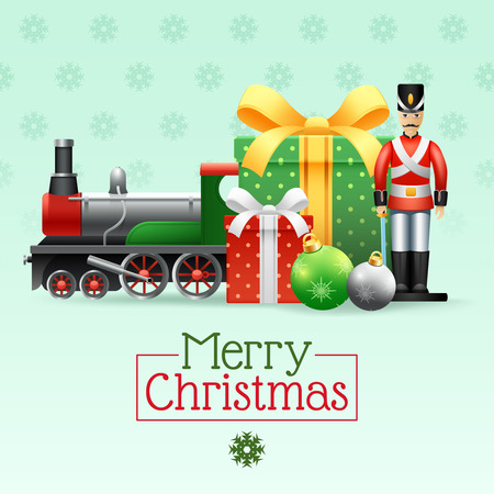 toys: Christmas vintage realistic toys set with boxes toy soldier train and snowflakes vector illustration