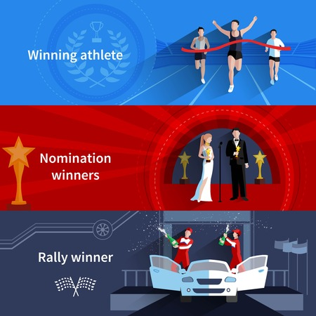nomination: Sports and nomination winners horizontal banners set with rally and athletes flat isolated vector illustration