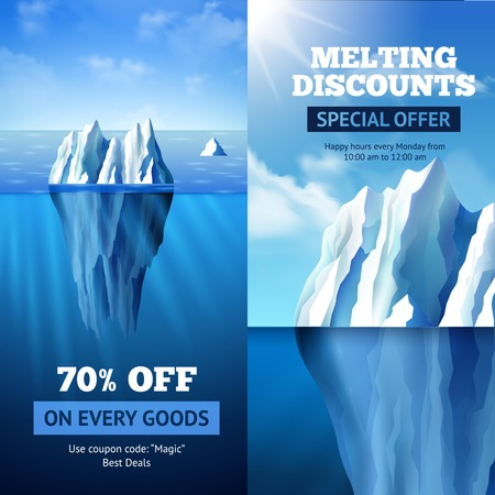 mount price: Sale banners vertical set with iceberg discount symbols isolated vector illustration