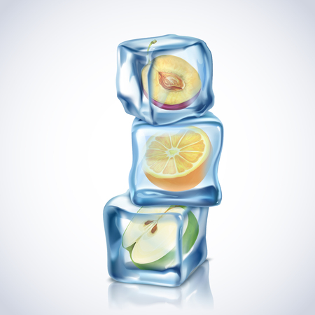 ice: Realistic ice cubes with fruits inside on white background vector illustration