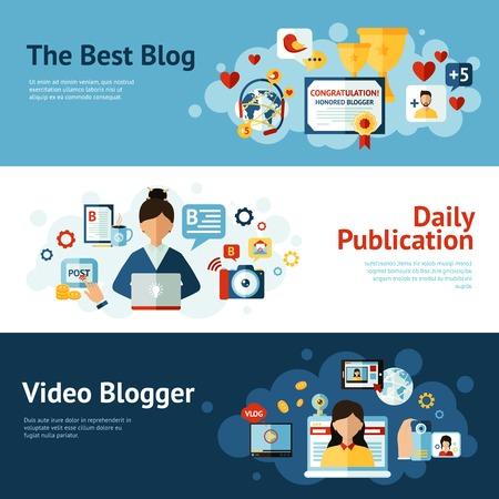 horizontale banner die met blog publicatie elementen geïsoleerd vector illustratie