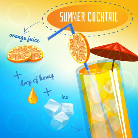 preparing: Summer cocktail recipe with orange juice drop of honey and ice cartoon vector illustration