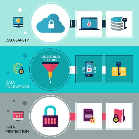 encryption: Data encryption horizontal banners set with safety and protection elements isolated vector illustration