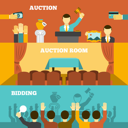 Auction horizontal banners set with room and bidding flat isolated vector illustration Illustration