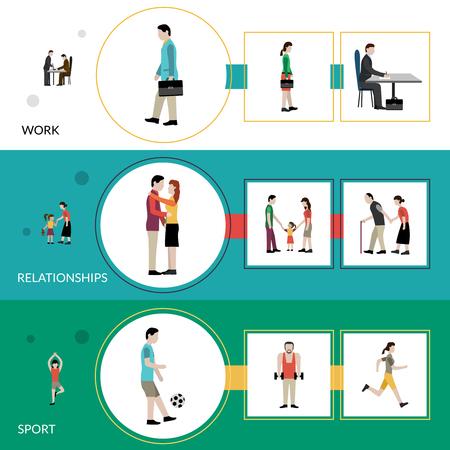persona caminando: Lifestyle banner horizontal conjunto con elementos de la relación de trabajo y deportivas aisladas ilustración vectorial