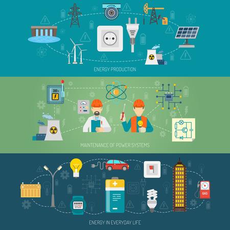 the maintenance: Transmisión de la producción de energía y el mantenimiento de los sistemas de energía domésticos banderas planas horizontales set vector abstracta ilustración aislada Vectores