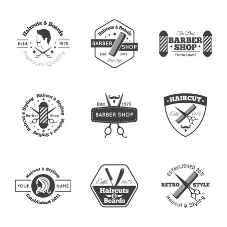 comb hair: Hairdress salon black logo and emblems set isolated vector illustration