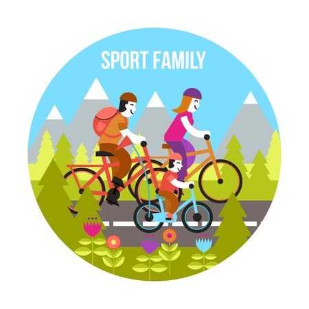 cartoon biker: Sport family concept with parents and kid riding bikes flat vector illustration Illustration