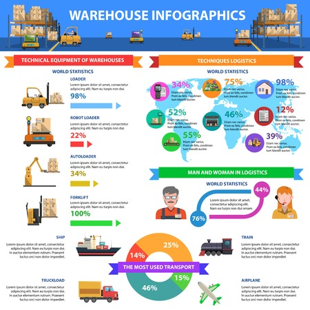 storage warehouse: Warehouse infographics set with delivery symbols and charts vector illustration