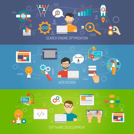Web banner horizontale set met zoekmachine optimalisatie en de ontwikkeling van software-elementen geïsoleerd vector illustratie Vector Illustratie