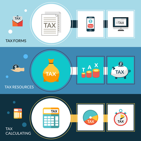 tax form: Tax horizontal banner set with forms resources and calculating elements isolated vector illustration