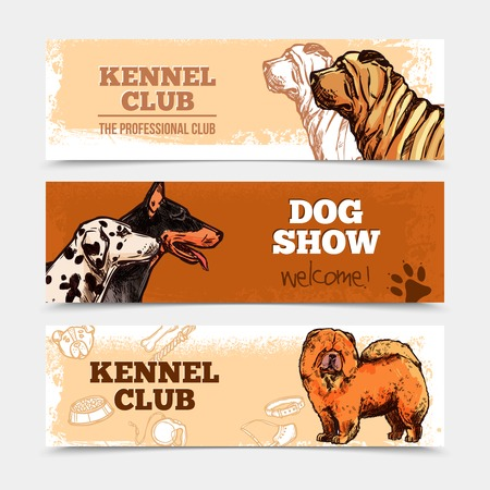 dog breeds: Dog club horizontal banners set with hand drawn breeds isolated vector illustration