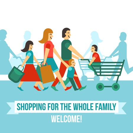 kid shopping: Shopping center concept with flat happy people silhouettes vector illustration