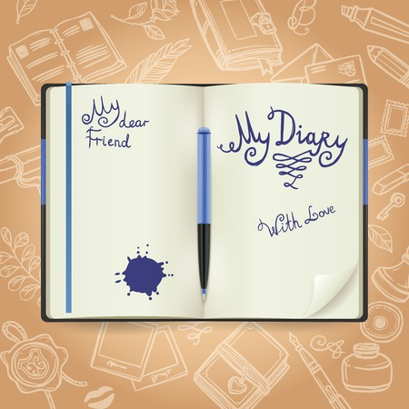diary: Diary concept with realistic notebook and sketch books symbols on background vector illustration Illustration