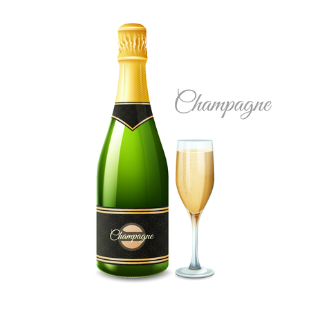 prestige: Champagne bottle and full glass realistic set with title isolated vector illustration Illustration