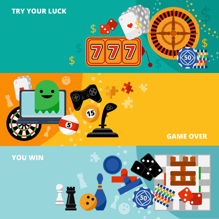 bowl game: Play online casino gambling and table games and win three flat banners poster abstract isolated vector illustration